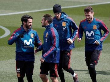La Selección Española entrenadose