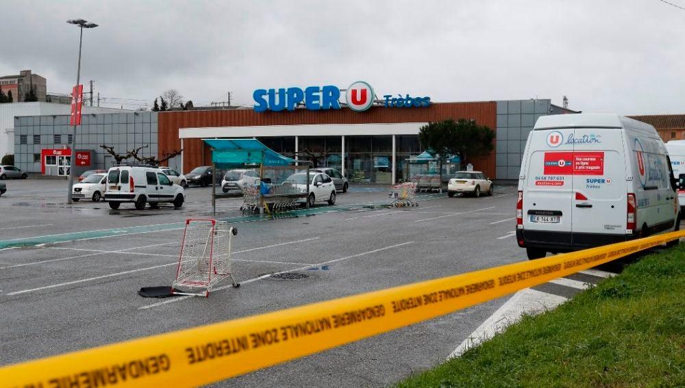 Lugar del ataque terrorista en la localidad francesa de Trèbes