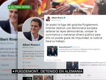 Tuit de Albert Rivera sobre la detención de Carles Puigdemont