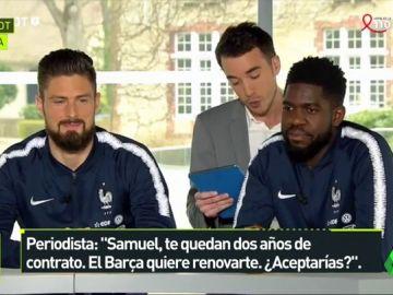 Umtiti no contesta al ser preguntado por su renovación con el Barcelona