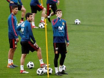 Gerard Piqué, en el entrenamiento de España en el Wanda Metropolitano