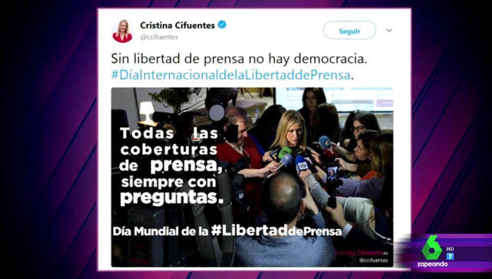 Tuit de Cristina Cifuentes en 2015