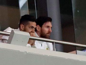 Leo Messi, en un palco del Wanda Metropolitano