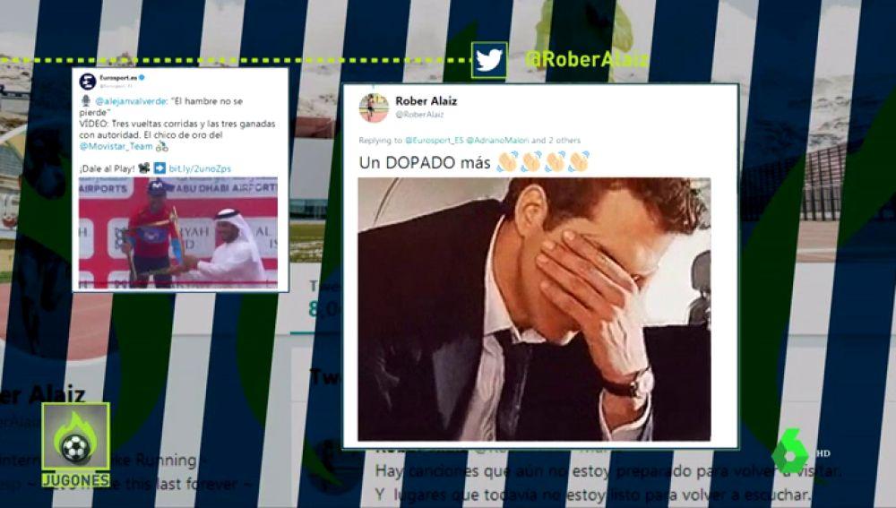 """El atleta Rober Alaiz ataca a Alejandro Valverde en Twitter: """"Un dopado más"""""""