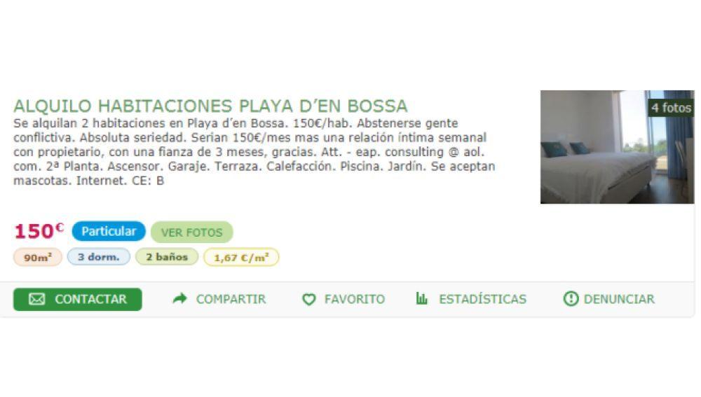 El polémico anuncio de alquiler de la habitación en Ibiza