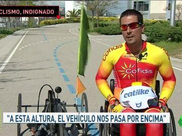 """Sergio Garrote relata el peligro que corren los 'Handbikers': """"Raro es el día que no tenga dos o tres sustos"""""""