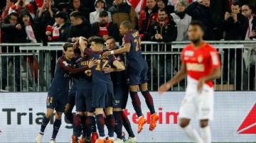 El PSG celebra un gol ante el Mónaco