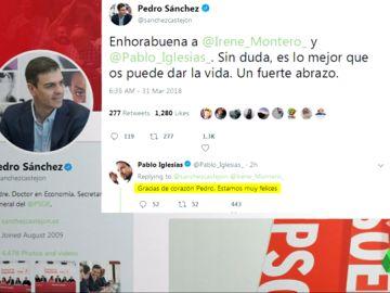 Representantes políticos como Pedro Sánchez felicitan a Irene Montero y Pablo Iglesias tras anunciar que tendrán mellizos