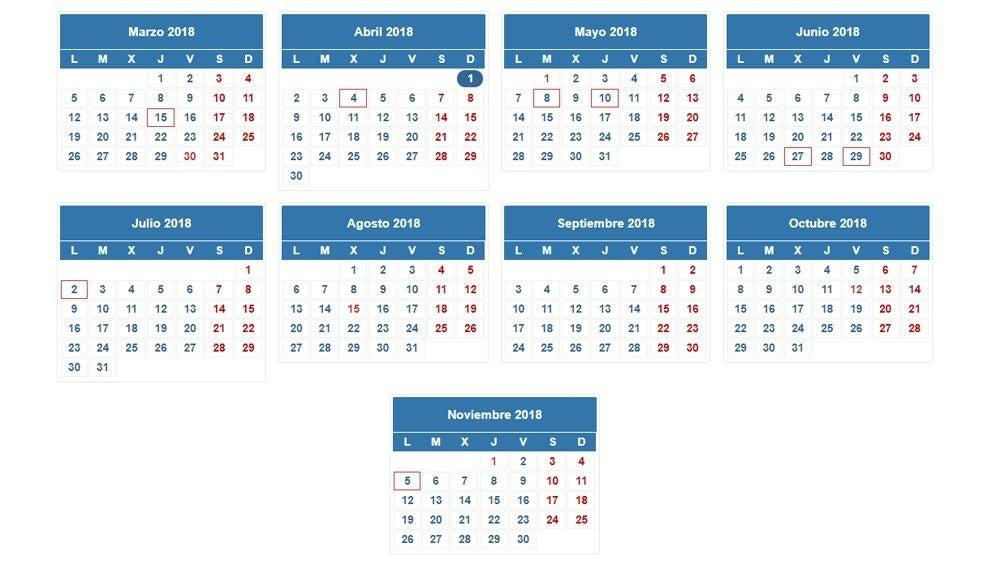 Calendario de la renta 2017