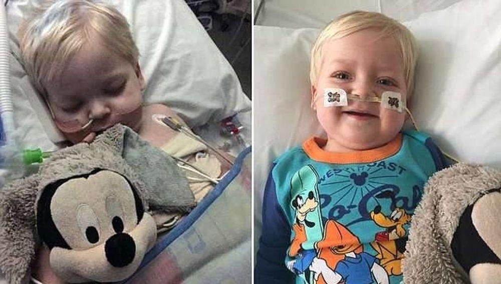 El pequeño Dylan antes y después de despertar