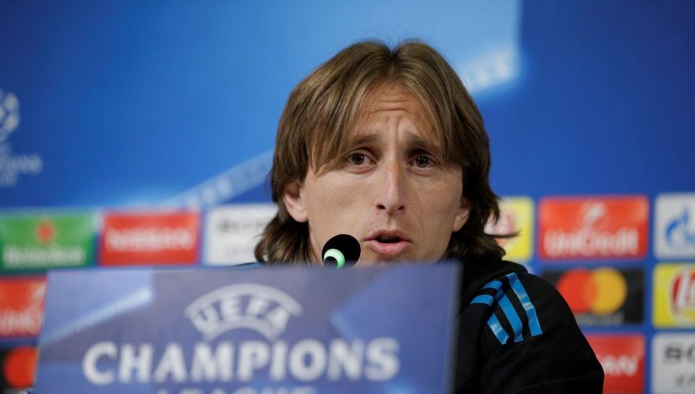 Luka Modric, en rueda de prensa en Turín
