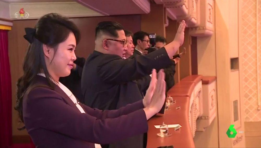 Kim Jong-un en un concierto de artistas surcoreanos