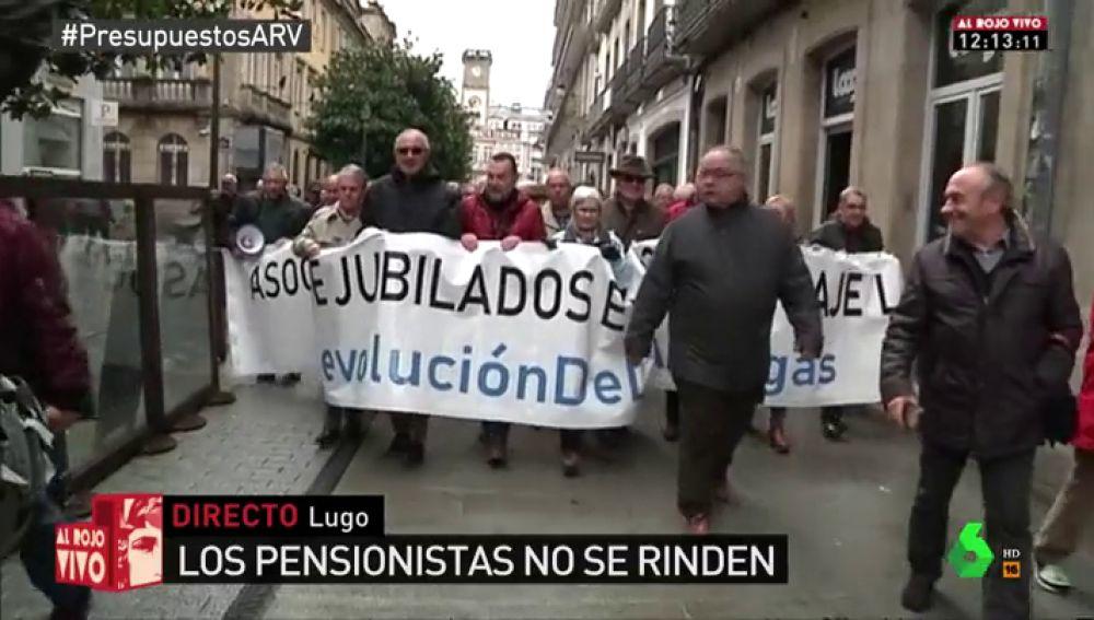 Pensionistas protestas en las calles de Lugo