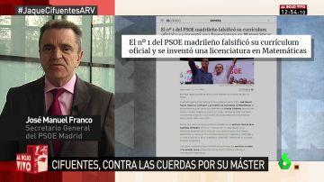"""José Manuel Franco, tras la polémica con su currículum: """"Fue un error que se corrigió hace más de 15 años"""""""