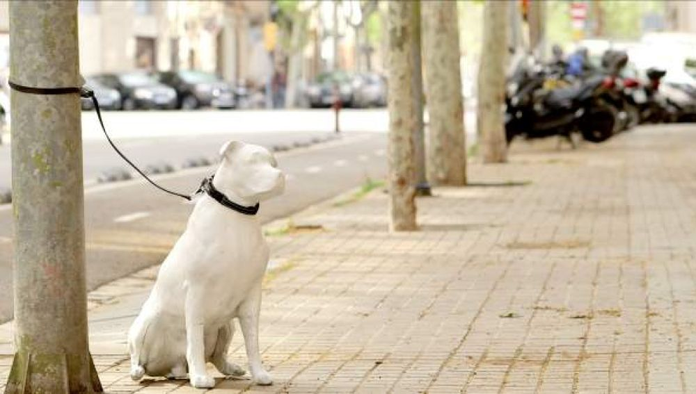 Una de las estatuas de un perro en Barcelona