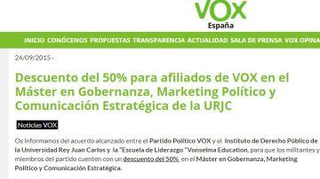 Máster de la URJC con 50% de descuento para afiliados de Vox