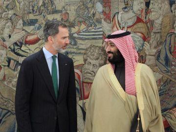 El rey Felipe recibe al príncipe heredero saudí, Mohamed bin Salmán, hoy en el Palacio de la Zarzuela