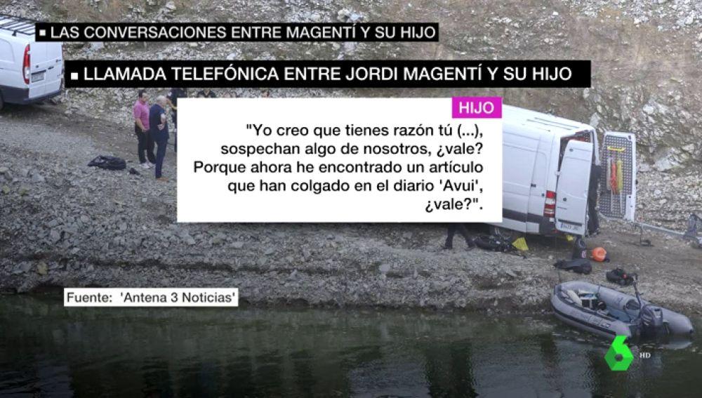 """La conversación telefónica pinchada entre Jordi Magentí y su hijo sobre el crimen de Susqueda: """"Sospechan de nosotros"""""""