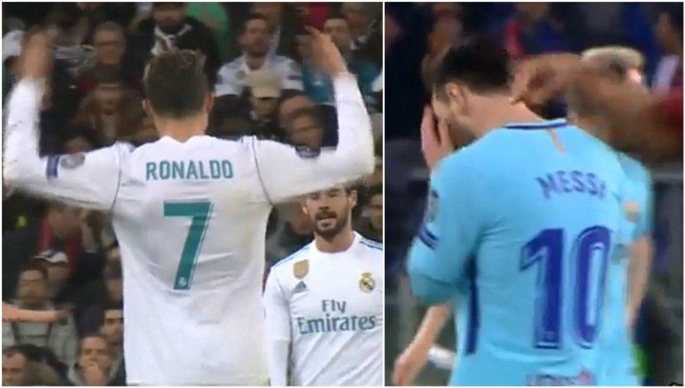 Reacciones de Cristiano y Messi al encajar goles