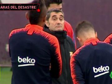 Caras largas de Messi y Piqué en el primer entrenamiento tras la debacle del Barça en Roma