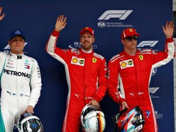 Bottas, Vettel y Raikkonen