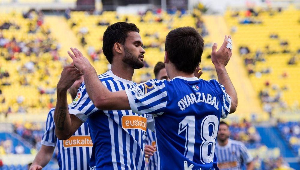 Oyarzabal celebra su gol ante Las Palmas