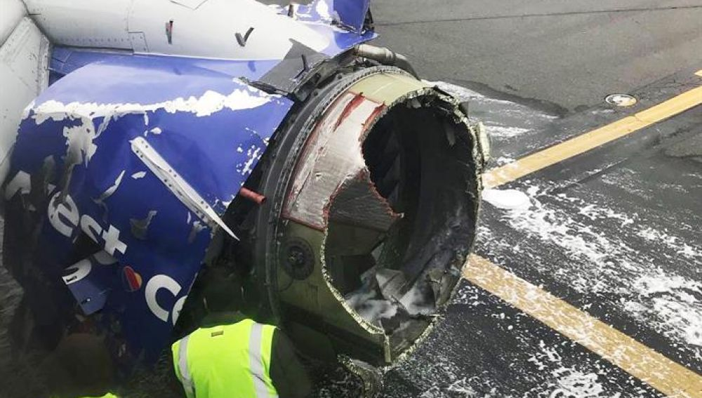 Un motor dañado del vuelo 1380 de Southwest Airlines