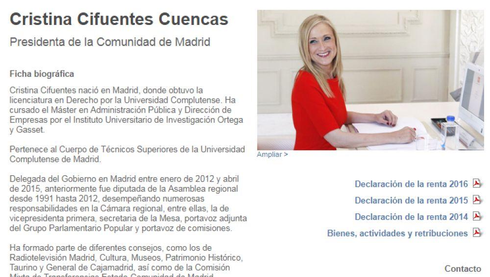 Biografía de Cifuentes en la web de la Comunidad de Madrid