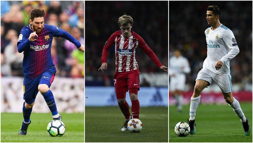 Messi, Griezmann y Cristiano, con sus respectivos equipos
