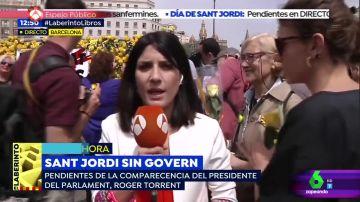 La inesperada reacción de una mujer catalana en una conexión en directo por el día de Sant Jordi