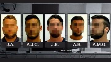 Imagen de los cinco acusados de 'La Manada' por violación múltiple en San Fermín