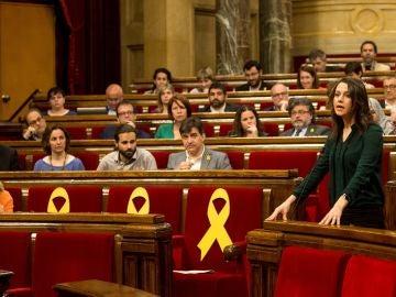 La líder de Ciudadanos, Inés Arrimadas, interviene en el pleno del Parlament
