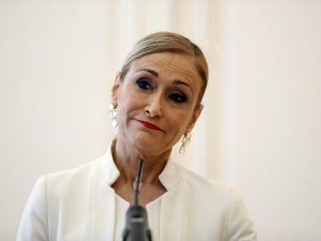 Cristina Cifuentes en el momento de presentar su dimisión