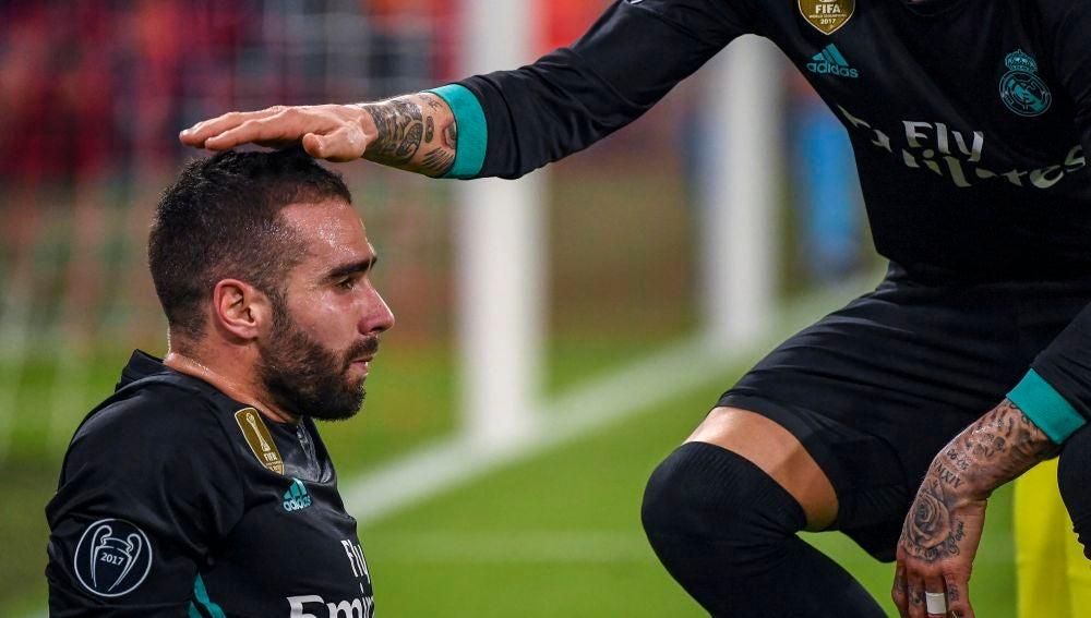 Carvajal, tras sufrir una lesión ante el Bayern