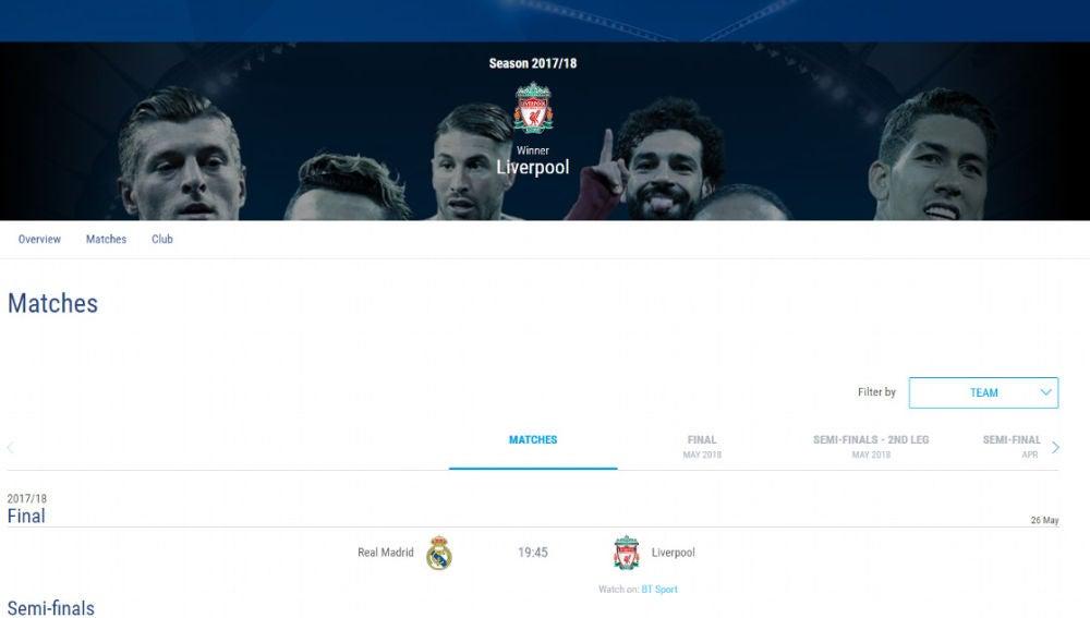 La UEFA da ganador al Liverpool