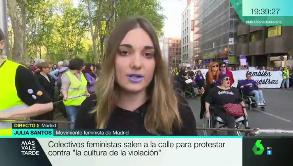 """Julia Santos: """"Queremos mostrar nuestro desacuerdo a la sentencia a 'La Manada' y denunciar la cultura de la violación"""""""