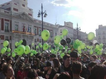 Marcha a favor de la marihuana en Madrid