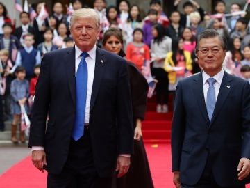 El presidente surcoreano, Moon Jae-in, y su homólogo estadounidense, Donald J. Trump