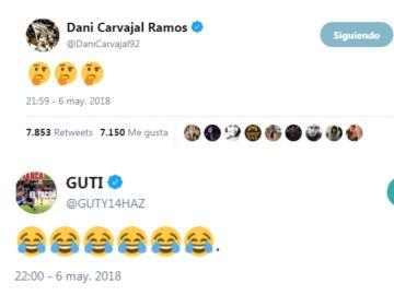 Carvajal y Guti reaccionan al gol de Messi en el Clásico