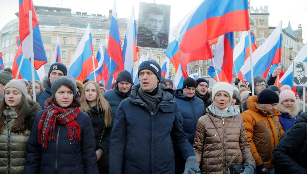 El líder ruso de la oposición Alexei Navalny durante una manifestación en Moscú