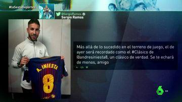 """Sergio Ramos tiene la última camiseta de Iniesta en un Clásico... con dedicatoria incluida: """"Para mi compi"""""""