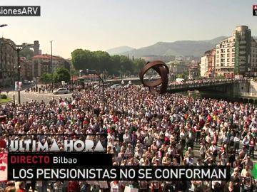 Los pensionistas vuelven a tomar Bilbao para pedir una pensión mínima de 1.080 euros y que su subida con el IPC sea definitiva