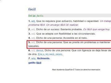 Definición de la palabra 'fácil' en el diccionario de la RAE
