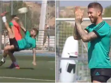 Ramos aplaude tras el paradón de Keylor a su chilena