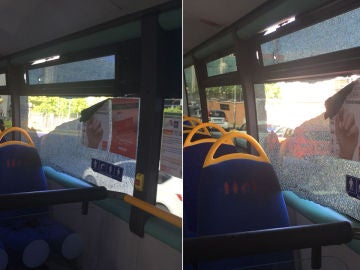 Imagen del autobús tiroteado en San Sebastián de los Reyes
