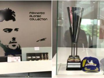 Fernando Alonso muestra su trofeo de ganador en Spa