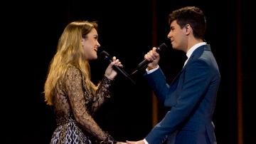 Amaia y Alfred en un ensayo de Eurovisión 2018