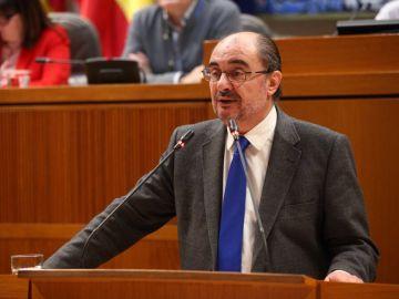 El presidente de Aragón, Javier Lambán, en el pleno