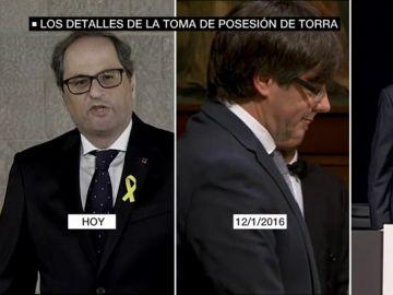 Imagen comparativa de las tomas de posesión de Torra, Puigdemont y Mas