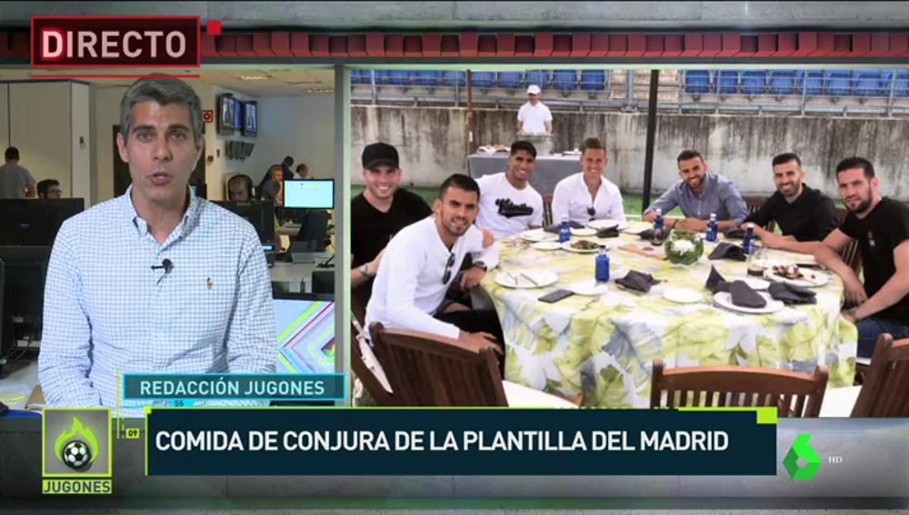 La plantilla del Real Madrid hace la tradicional comida de conjura antes de la final de la Champions